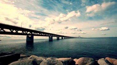 Oresund Bridge , bridge on the sea, architecture landscape in sweden, sunset, time lapse — Stock Video