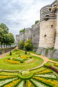 Garden and bastions of fortress in Angers — Stock Photo