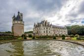 View at the west side Chenonceau chateau from garden — Stockfoto
