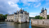 View at the Chenonceau chateau with river Cher — Stock Photo
