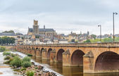 View at the Nevers with old bridge — Fotografia Stock