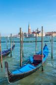 Gondola with San Giorgio Maggiore island — Stok fotoğraf