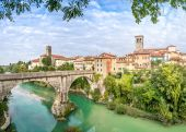 Cividale del Friuli with river and Devils bridge — Stok fotoğraf