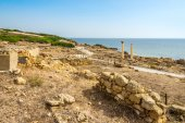 Corinthian columns and ruins of ancient Tharros in Sardinia — Stock Photo