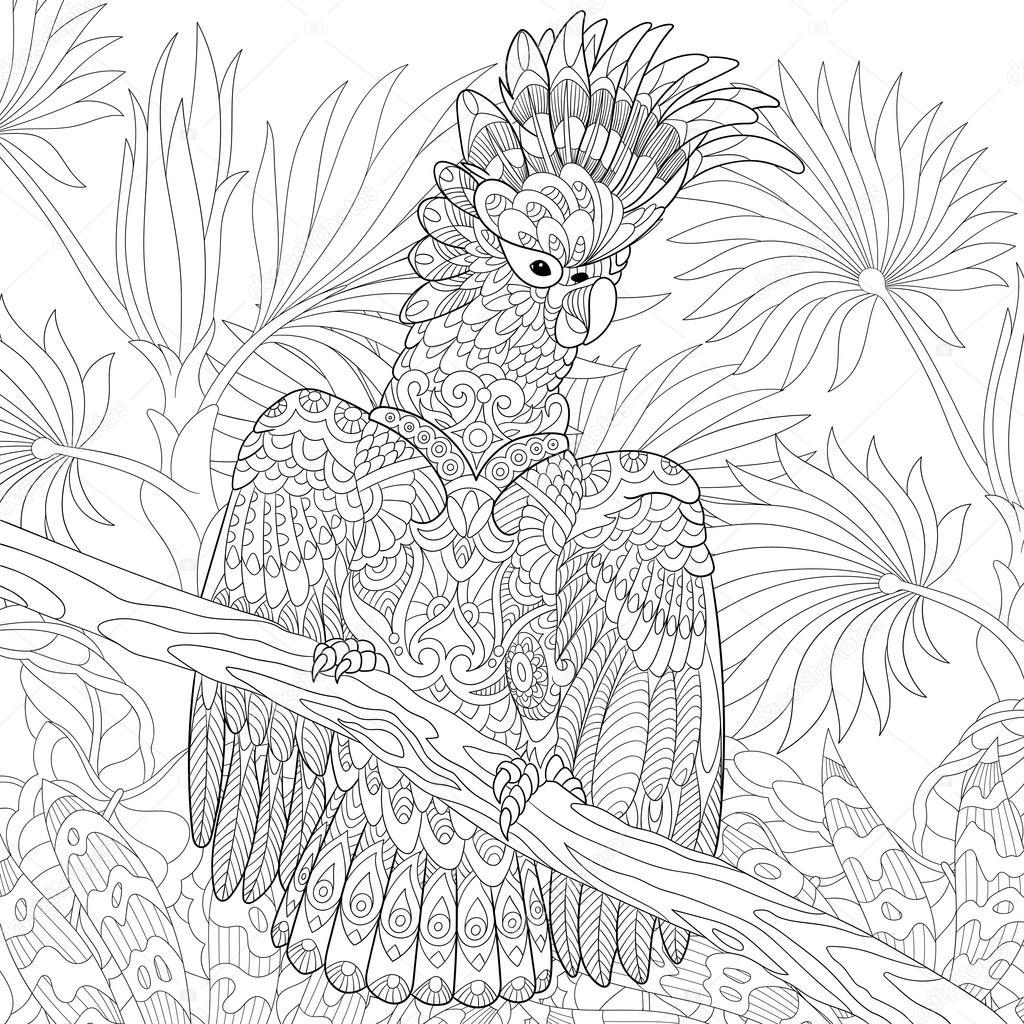 Картинки нарисованные джунгли природа с попугаем
