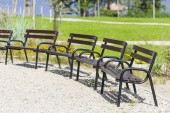 Benches standing in a park. — Stock Photo
