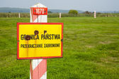 Border post and emblem of the Polish — Stock Photo