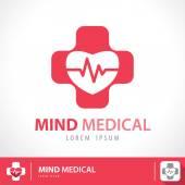 Mind medical symbol icon — Vetor de Stock