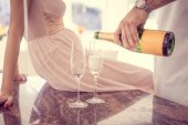 Drinking champagne — Stock Photo