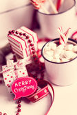 Christmas decoration with hot chocolate mug — Zdjęcie stockowe