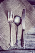 Rustic silverware — Stock Photo