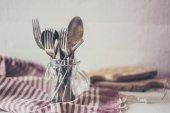 Rustic dinnerware — Stock Photo