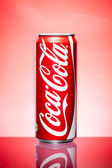 Thailand, Bangkok - May 30, 2014: coca cola can on blue backgrou — Stock Photo
