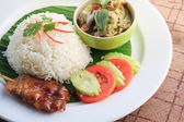 Thailand food Green curry Intense soup with rice and Grilled Pork — Stock Photo