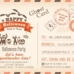 Happy Halloween Vintage Postcard invitation background design la — Stock Vector #52013447
