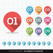 Numbers Pin Marker Flat Icons with long shadow Set for GPS or Map — Stockvektor