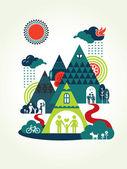 Happy Family Concept Illustration — Stock Vector