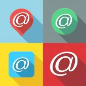 Set of Email  At sign  Arroba symbol flat icon long shadow — Stok Vektör