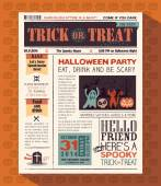 Happy Halloween Party card vector design layout in newspaper sty — Stock Vector