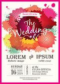 Color splash wedding party invitation card vector background — Stock Vector