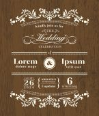 Vintage typography Wedding invitation design template on wooden  — Vetorial Stock