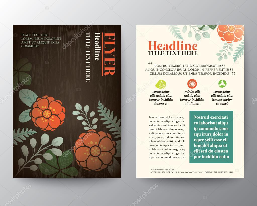 brochure flyer graphic design layout vector template floral brochure flyer graphic design layout vector template in a4 size floral background vector by kraphix