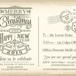 Vintage Christmas and Happy New year holiday postcard background — Stock Vector #57780019