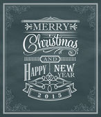 Christmas new year vintage chalk text label and frame on a black — Stock Vector