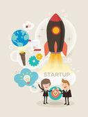 Start up business concept illustration — Stock Vector