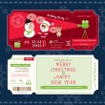 Vector Christmas Party Ticket Card Design Template — Stock Vector #58332479
