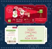 Vector Christmas Party Ticket Card Design Template — Stock Vector