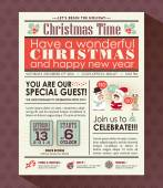 Christmas party poster invite background in newspaper style — Stock Vector