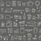 Seamless background pattern Cooking Kitchen utensil icons set — Stock Vector