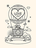 Modern wedding groom and bride pictogram in hot air balloon illustration — Stock Vector