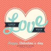 Valentine' s Day Invitation card template with LOVE word — Stock Vector