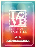Valentine's day and wedding LOVE word Bokeh Background — Vector de stock