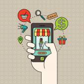 Outline e-commerce icons and smart phone in hand with digital marketing online shopping concept — 图库矢量图片