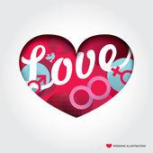 Minimal style Heart shape Illustration with Love Concept  — Stock vektor
