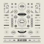 Set of linear thin line art deco retro vintage design elements w — Stock Vector #70756669