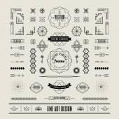 Set of linear thin line art deco retro vintage design elements w — Stock Vector