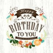 Cute Happy birthday card design — Stock Vector