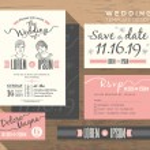 Modern wedding invitation set design Template — Stock Vector #71754609