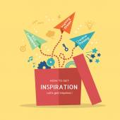 Inspiration concept Illustration with paper plane flying out of  — Stock Vector