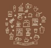 Coffee outline icons set — Stock Vector