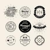 Vintage retro wedding logo frame badge design element — 图库矢量图片