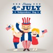Uncle sam cartoon with kids, happy 4th of july Independence day — Stock Vector #75384887