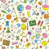 Colorful Seamless Pattern background of school and education icons — Stock Vector