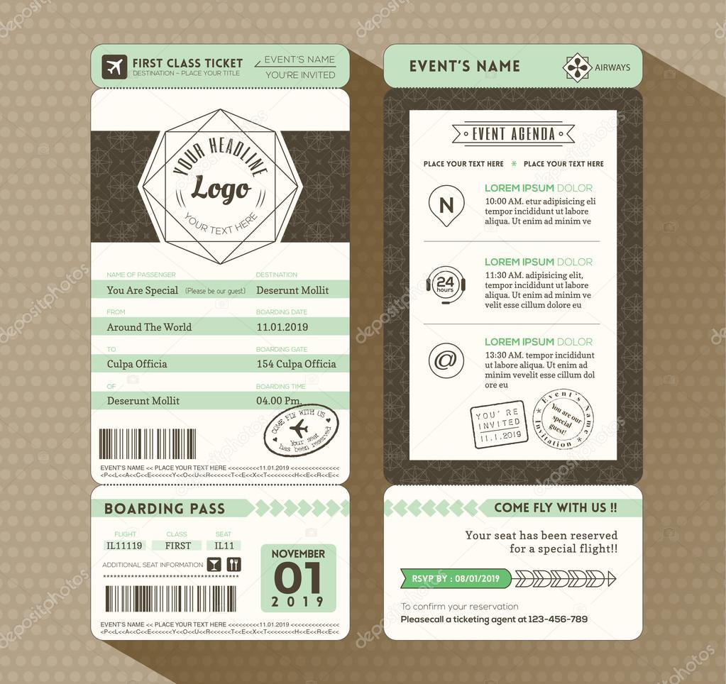 Boarding pass sleeve template