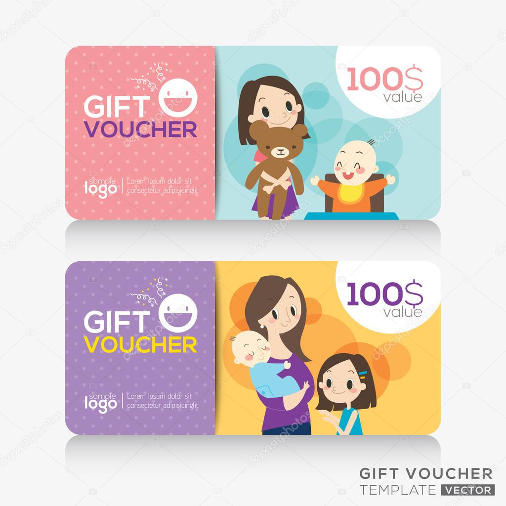 kids store coupon voucher or gift card design template stock kids store coupon voucher or gift card design template stock vector 89062750