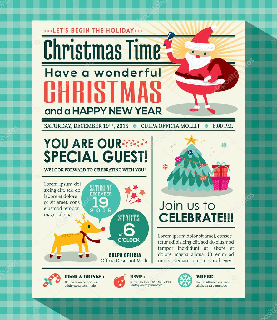 christmas party poster invite background in newspaper style christmas party poster invite background in newspaper style stock illustration